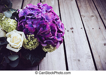Big bouquet of fresh flowers, purple hydrangeas and white...