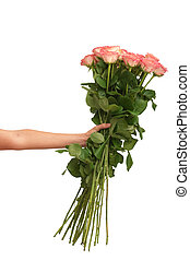 big bouquet of roses - woman holding big fragrant bouquet of...