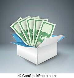 Big box with money, dolor. ector eps 10