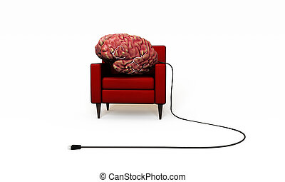 big brain relaxing in a red armchair