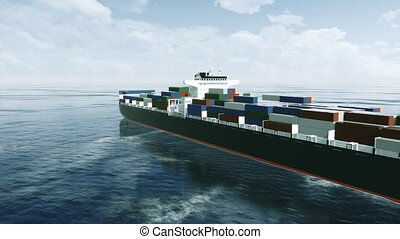 Big brandless cargo container ship at open sea 4K - Big...