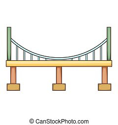 Big bridge icon, cartoon style
