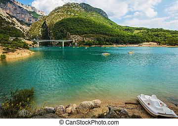 Big bridge over river Verdon in Provence