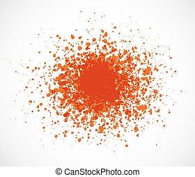 Big bright orange grunge splash on white background