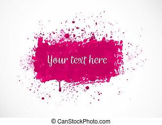 Big bright pink grunge splash on white background