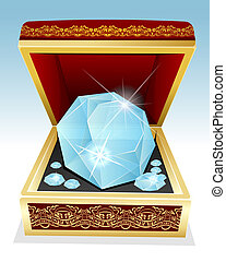 Big brilliant diamond in gift box - Vector illustration of...