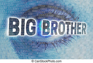 Big Brother eye with matrix looks at viewer concept