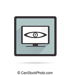 Big brother is watching you.  TV on white background. Vector character design.