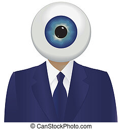 Big brother watching with a large eyeball and a blue suit.