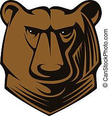 Big brown bear head - Cartoon illustration of a big brown...