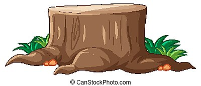 Big brown stump with grass in cartoon style on white background