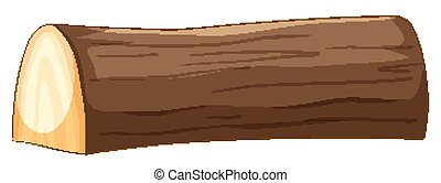 Big brown timber in cartoon style on white background