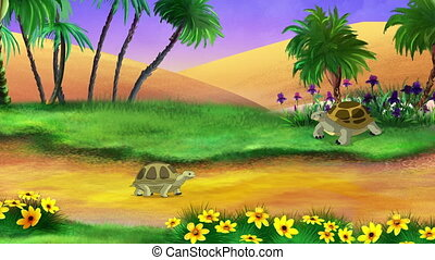 Big brown turtle and her cub walks in the oasis on a sunny summer day. Handmade 2D animation.