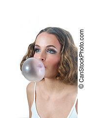 Big Bubble Gum - Model blowing big Bubble gum