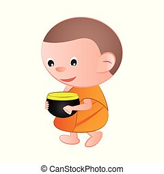 Big bubble head cartoon Buddhist monk ask a favor receive...