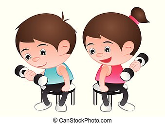 Big bubble head man and woman cartoon lift dumbbell,exercise for good shape and healthy,isolated