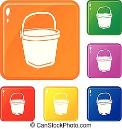 Big bucket icons set vector color