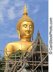 Big Buddha image on blue sky background