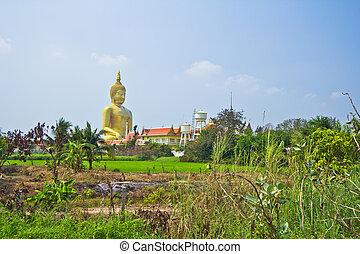 Big buddha in temple Thailand