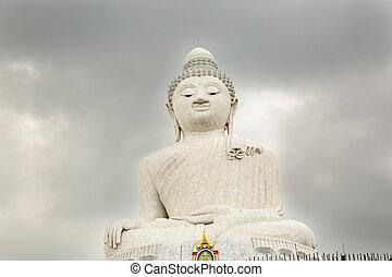 Big Buddha monument on island of Phuket in Thailand. Formal...
