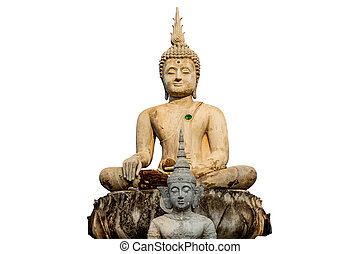 Big Buddha under construction in temple thailand isolate white background with clipping path.
