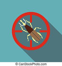 Big bug icon, flat style