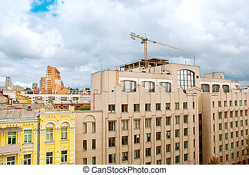 building and crane