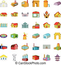 Big building icons set, cartoon style - Big building icons...