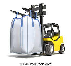 Big bulk bag on yellow forklift