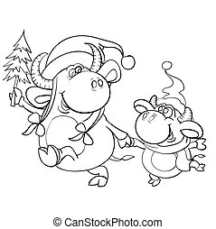 big bull and little calf in Christmas caps go holding hand and an adult bull holds a small tree in his hand, cartoon illustration, sketch, coloring, symbol of the year, isolated object on a white background, vector illustration,