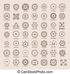 Big bunch of luxury, simple and elegant monogram design templates. Good for labels and logos. Vector illustration. Line style. Big set of monograms. Monogram design. Vector monogram.