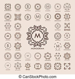 Big bunch of luxury, simple and elegant monogram design templates.
