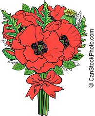 Big bunch of red poppy flowers tied with ribbon