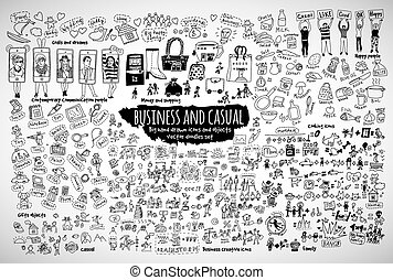 Big bundle business and casual doodles icons and objects. Black and white vector illustration. EPS8