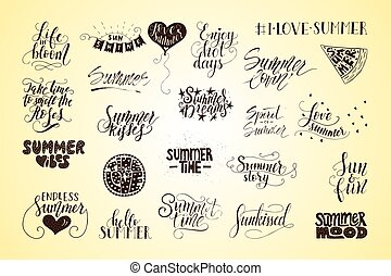 Big bundle of 23 vector hand drawn summer quotes. Handwritten with ink and brush pen.