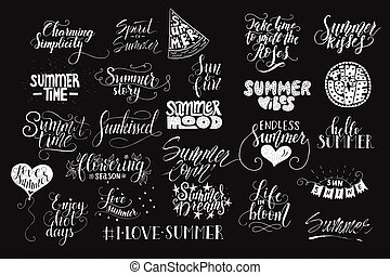 Big bundle of 25 vector hand drawn summer quotes. Handwritten with ink and brush pen.