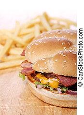 Big burger and chips