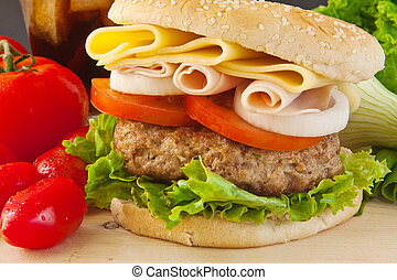 Big Burger - homemade burger with white onion and tomato