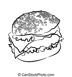 Big burger, vector illustration