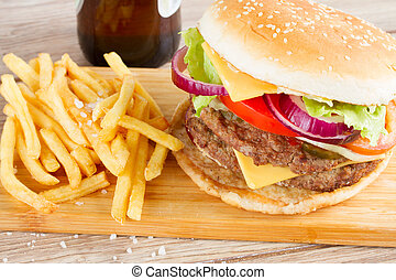 Big burger with french fries