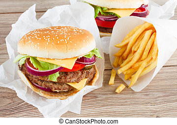 Big burger with french fries - Big fresh burger with french...