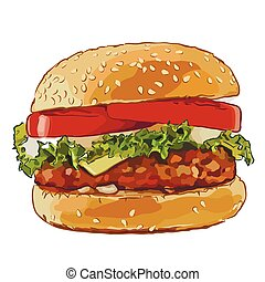 big burger with fried cutlets