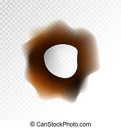 Big burnt hole on transparent background isolated illustration