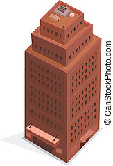 Big Business Isometric Building - Illustration of a cartoon...
