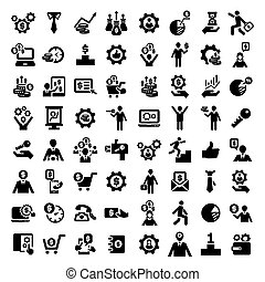 big business success icons set