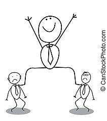 Big businessman and Small vector illustration