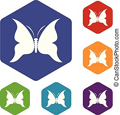 Big butterfly icon, simple style