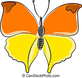 Big butterfly, illustration, vector on white background.