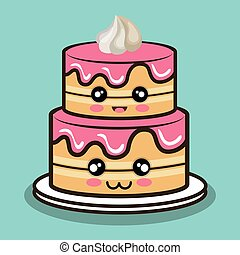 big cake cartoon with cream pink graphic