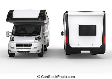 Big camper van - front and back shot - isolated on white background